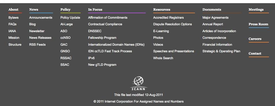 ICANN website footer August 2011