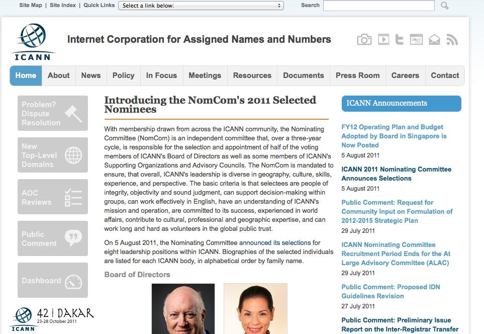 ICANN website header