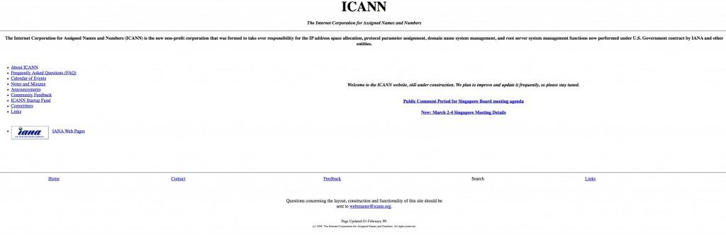 ICANN's website in 1999