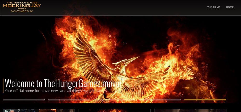 thehungergames.movie being prominently advertised on the site