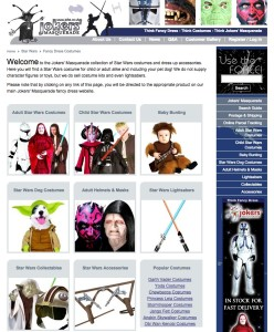 StarWars.co.uk currently points to a page on the site selling Star Wars