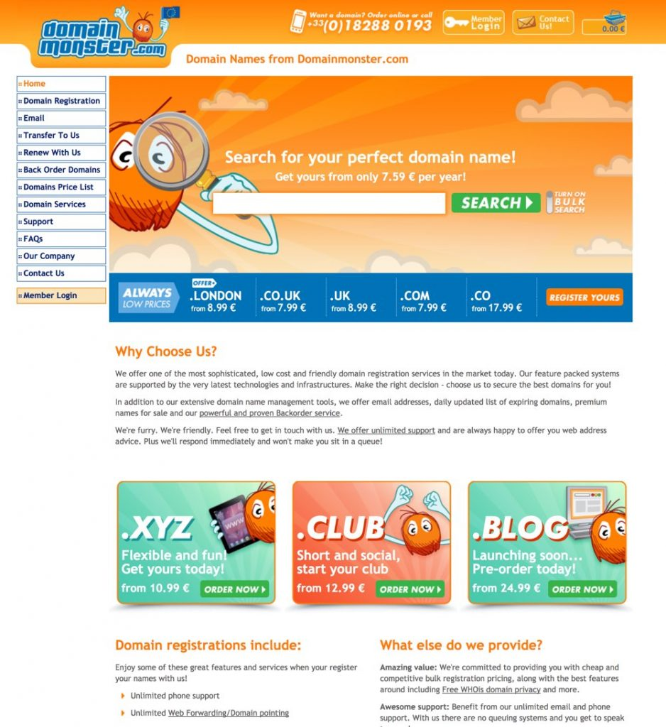 Domain Monster home page screenshot
