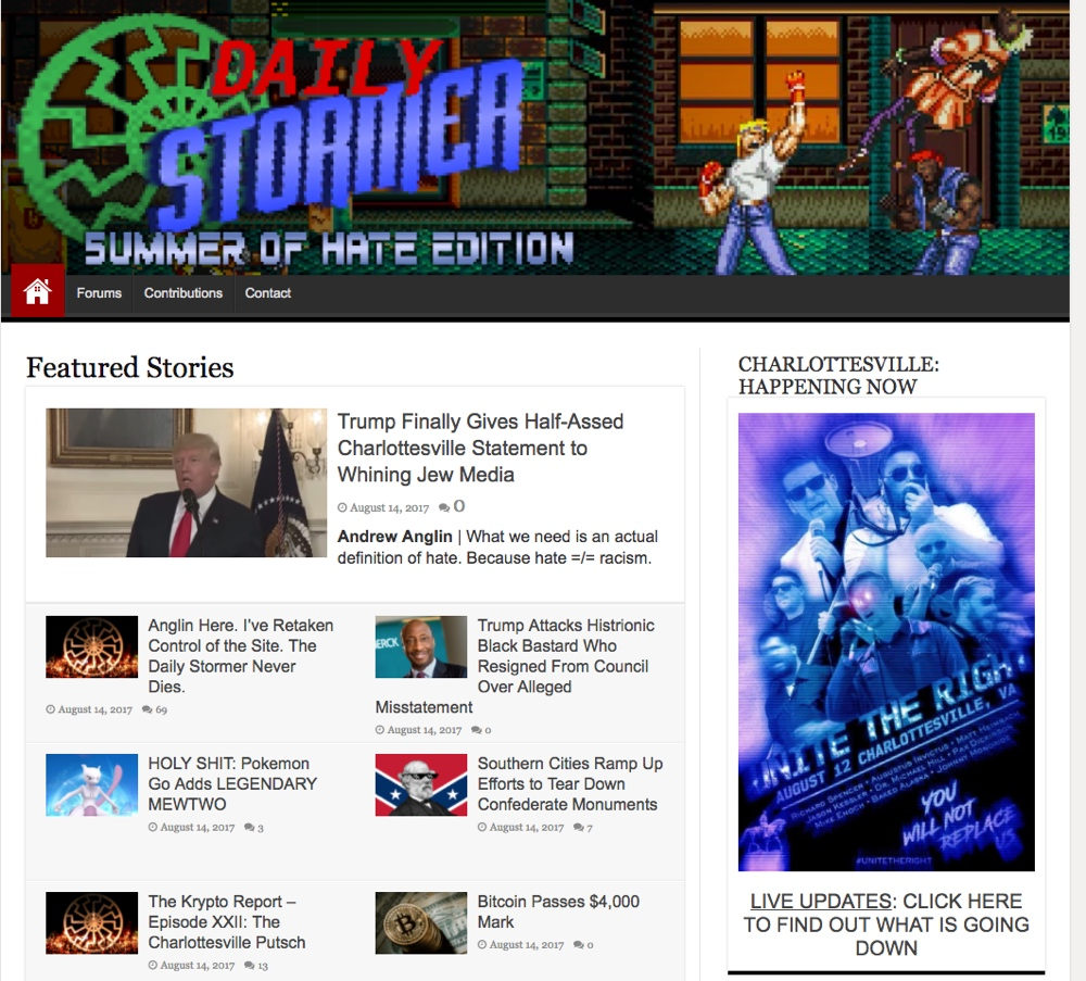 Screenshot of homepage of Daily Stormer an extreme right-wing website