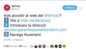 Catalan referendum twitter account providing instructions on using vpns