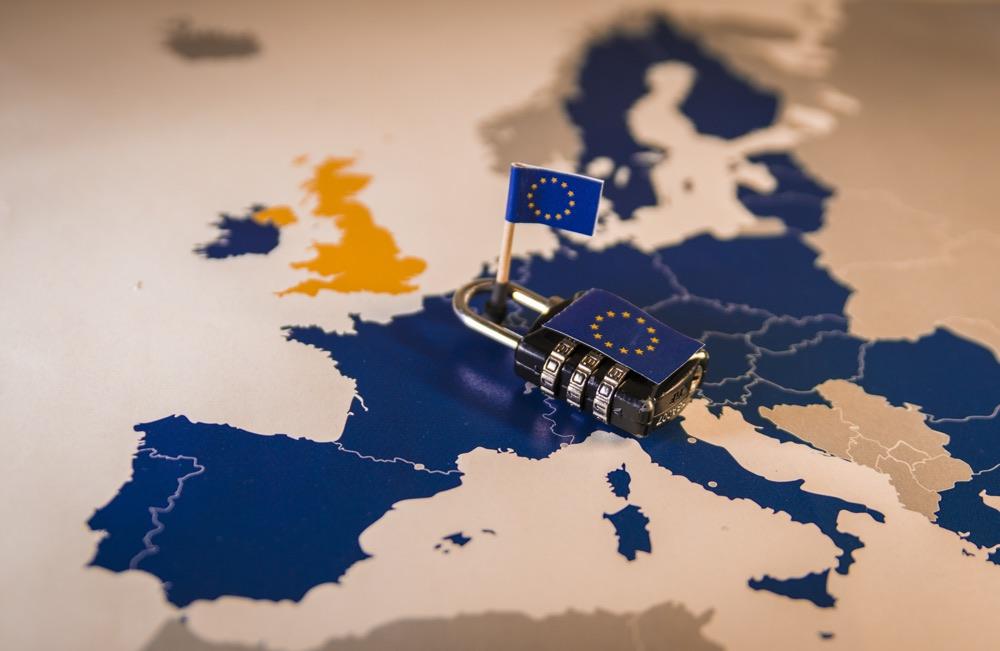 Padlock over EU map symbolizing the EU General Data Protection Regulation or GDPR. Designed to harmonize data privacy laws across Europe.