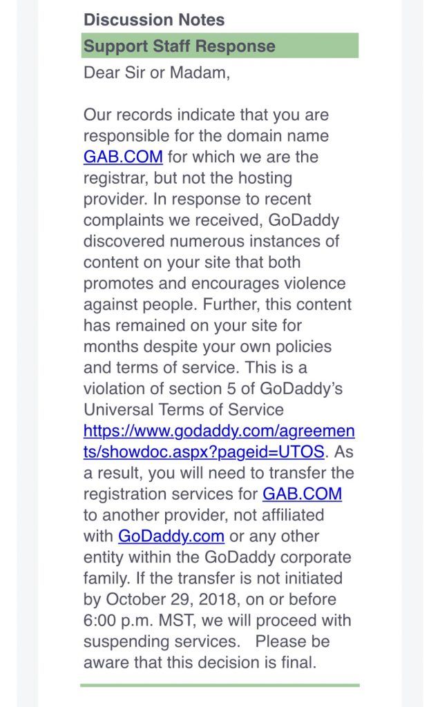 GoDaddy Notice to Gab.com