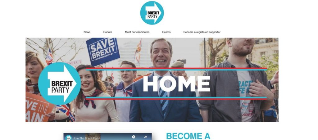 screenshot of Nigel Farage's new party site