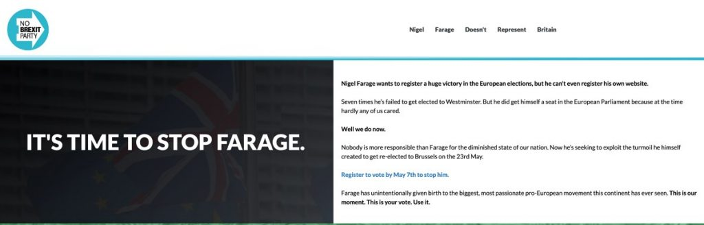 Screenshot of site being used by Anti-Brexit group